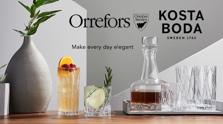 Orrefors Kosta Boda at ShopHQ - 474-119 - Orrefors City S/8 Drinkware, 474-120 - Orrefors Erik 3 PC Set (2 DOFs & Decanter)