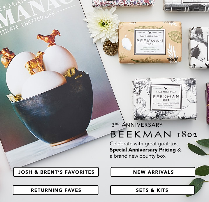 Beekman 1802 at Evine - Celebrate with great goat-tos, Special Anniversary Pricing & a brand new bounty box - Beekman 1802 Set of 8 Assorted Goat Milk Bar Soaps 9 oz Each w/ Almanac - 313-759