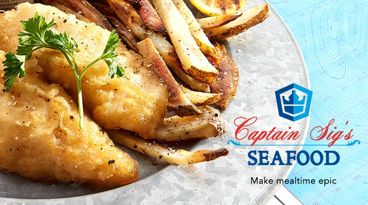Captain Sig's Seafood at Evine - Deadliest Catch (3 lbs) Premium Alaskan Beer-Battered Cod Filets - 460-832