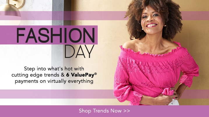 Fashion Day at Evine - Kate & Mallory® Knit Long Sleeve Off-the-Shoulder Scalloped Hem Smocked Top - 736-278