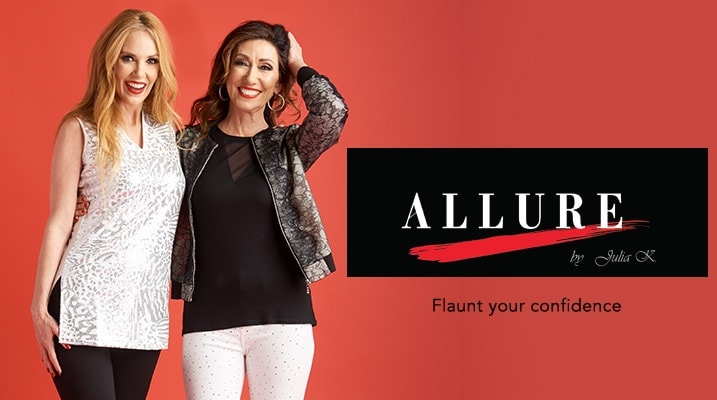 Allure by Julia K at Evine - Allure by Julia K. Knit Sleeveless Sequined Front V-Neck Shift Tunic - 736-824, Allure by Julia K. Lace & Mesh Mandarin Collar Zip Front Layered Bomber Jacket - 736-826, Allure by Julia K. Super Stretch Denim 3-Pocket Embellished Front Pull-on Jeans - 736-833