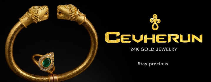 Cevherun at Evine - Cevherun 24K & 22K Gold Lion Hinged Cuff Bracelet, 38.78 grams - 171-135, Cevherun 24K Gold 1.35ctw Emerald & Diamond Halo Ring - 171-139