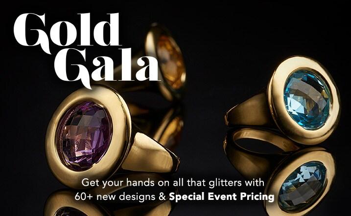 Gold Gala at Evine - Viale18K® Italian Gold 'Voga' Electroform 14mm Gemstone Polished Ring - 170-973