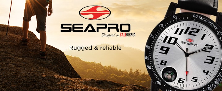SEAPRO at Evine -  Rugged & reliable  - Seapro Men's 46mm Raceway Quartz Compass Leather Strap Watch - 625-909