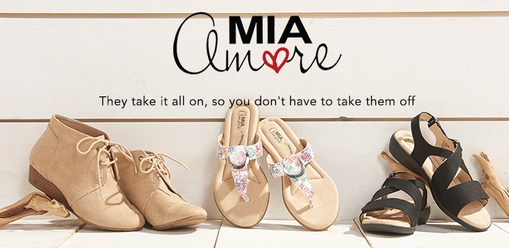 MIA Amore at ShopHQ -  They take it all on, so you don't have to take them off  - 	MIA Amore 'Sarah' Faux Suede Lace-up Wedge Ankle Boots - 736-264, MIA Amore 'Hana' Slip-on Thong Sandals - 736-262, MIA Amore 'Terry' Crisscross Strap Slingback Sandals - 736-263