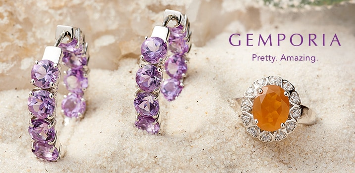 Gemporia at Evine - Gemporia 1-inch 8.62ctw Morocan Amethyst Inside-Out Hoop Earrings - 165-886, Gemporia 1.33ctw American Fire Opal & White Zircon Halo Ring - 168-343