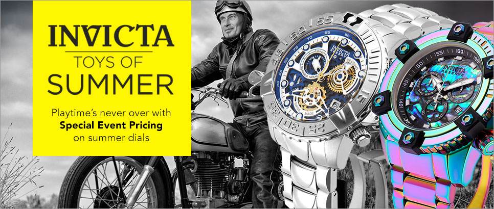 Invicta Toys of Summer - Invicta Reserve Men's 63mm Grand Octane Swiss Quartz Chronograph Iridescent Bracelet Watch - 645-131, Invicta Men's 47mm Subaqua Noma II Limited Edition Quartz Chronograph Stainless Steel Bracelet Watch - 646-555