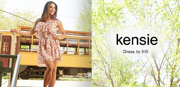 kensie at Evine - kensie Printed Chiffon One Shoulder Knit Lined Tie-Waist Ruffled Dress - 737-085
