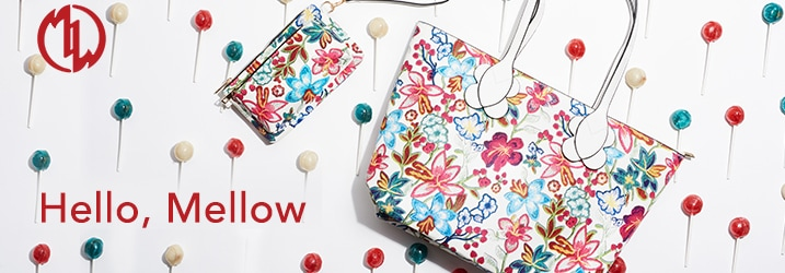 Mellow World at ShopHQ - Mellow World 'Primerose' Floral Printed Zip Top Clutch w/ 2 Removable Straps - 738-057, Mellow World 'Primerose' Floral Printed Zip Top Tote Bag - 738-056
