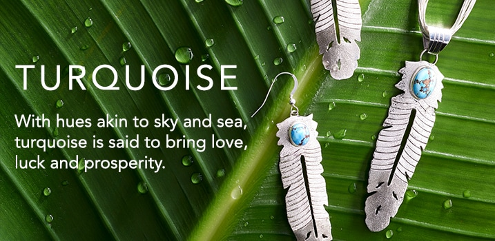 Turquoise at ShopHQ - 173-475 Sunwest Silver Museum Turquoise Feather Pendant & Drop Earrings Set