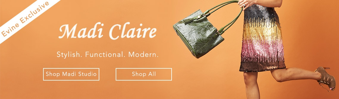 Madi Claire at Evine - Madi Claire 'Doreen' Tool Embossed Leather RFID Blocking Woven Handle Zip Top Tote Bag - 735-457
