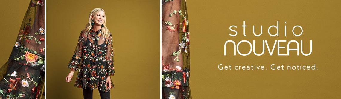 STUDIO NOUVEAU at ShopHQ - Studio Nouveau Floral Embroidered Mesh Bell Sleeve Ruffle Neck Button-up Jacket - 739-091