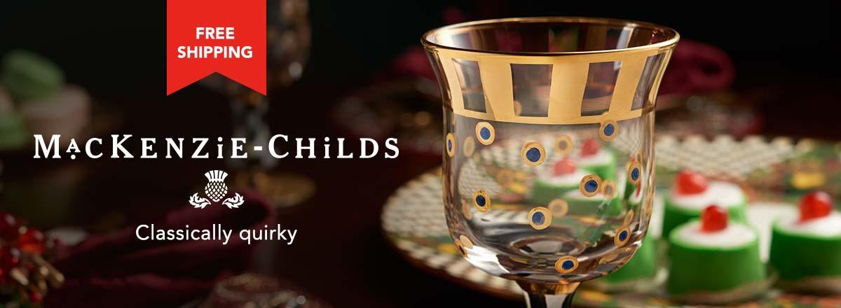 MacKenzie-Childs at Evine - 475-893 MacKenzie-Childs Set of 2 Pheasant Run Hand-Painted Glass Drinkware
