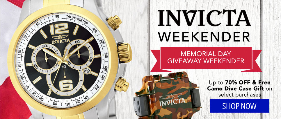 Invicta Weekender Memorial Day Giveaway Up to 70% OFF & Free Camo Dive Case Gift on select purchases  - Invicta 45mm Specialty Quartz Chronograph Two-tone Stainless Steel Bracelet Watch  - 641-037