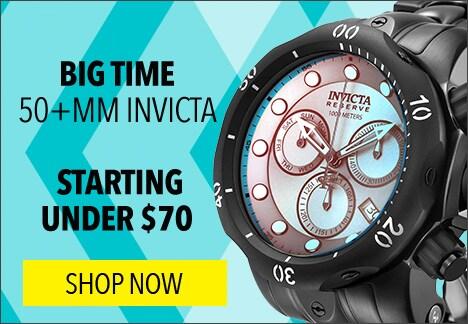 Big time starting under $70 - Invicta Reserve Men's 54mm Venom Tinted Crystal Swiss Quartz Chronograph Bracelet Watch - 646-779