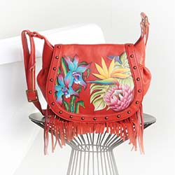 Handbags at Evine - 732-950 Anuschka Hand-Painted Leather Flap-over Fringe Detailed Crossbody Bag
