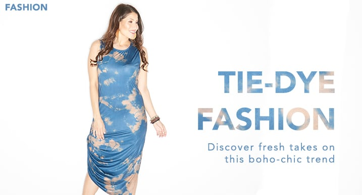 Tie-Dye Fashion at Evine - ARAE Printed Knit Sleeveless Convertible Hem Scoop Neck Dress - 732-135