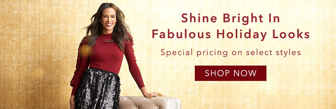 Shine Bright In Fabulous Holiday Looks at Evine - 737-724 Marc Bouwer Knit Long Sleeve Double Ruffle Detailed Sweater, 737-726 Marc Bouwer Mesh Elastic Waist Sequined Knit Lined Skirt