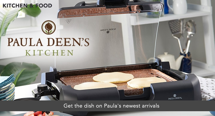 PAULA DEEN - Get the dish on Paula's newest arrivals at Evine - Paula Deen 1800W GranIT Stone-Infused Titanium Ceramic Nonstick Reversible Grill / Griddle - 473-927