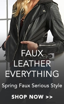 Faux Leather Everything at Evine - 734-421 - mōd x Faux Leather & Knit Zip Front Moto Jacket with Removable Hood