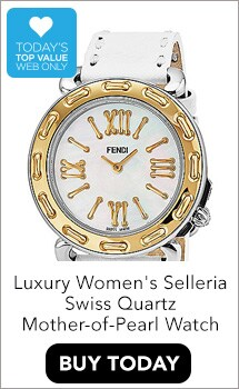 WEB TODAY'S TOP VALUEFendi Women's Selleria Swiss Made Quartz Mother-of-Pearl Dial Stitched Leather Strap Watch - 648-765