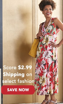 $2.99 Shipping on Select Fashion at Evine - One World Printed Knit Drawstring Shoulder Surplice Neck Maxi Dress - 736-339, Madi Studio by Madi Claire 'Soraya' Tool Embossed Floral Zip Top Tote Bag - 736-388, Jambu 'Cybill' Leather Flower Detailed Memory Foam Demi Wedge Sandals - 736-008
