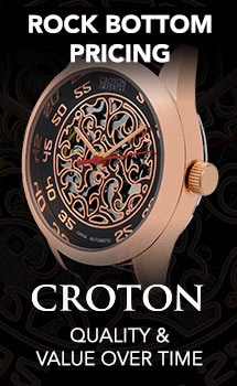 Rock Bottom Pricing Croton at Evine - 642-632 Croton Men's 40mm Imperial China Automatic Filigreed Open Heart Dial Leather Strap Watch