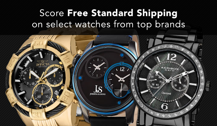 core Free Standard Shipping on select watches from top brands at Evine - 650-189 Invicta Men's 50mm Bolt Swiss Quartz Chronograph Stainless Steel Bracelet Watch, 646-675 Joshua & Sons Men's 46mm Quartz Dual Time Leather Strap Watch, 648-846 Akribos XXIV Men's 46mm Quartz Day & Date Diamond Accented Stainless Steel Bracelet Watch