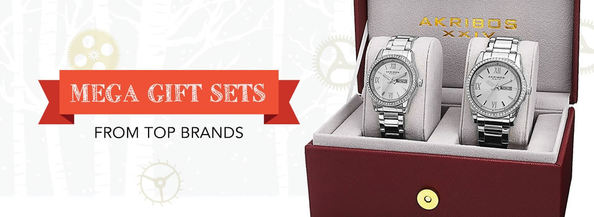 MEGA GIFT SETS FROM TOP BRANDS - 649-440 Akribos XXIV His & Hers Crystal Accented Day & Date Stainless Steel Bracelet Watch Set