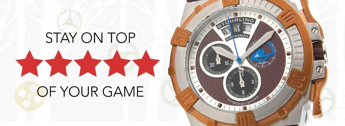 5 STAR STAY ON TOP OF YOUR GAME - 612-174 Stührling Original Men's Tonneau Falcon Swiss Quartz Chronograph Rubber Strap Watch