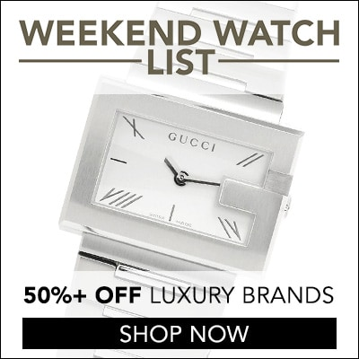 Weekend Watch List  -  50%+ OFF Luxury - 663-646 Gucci Women's G Rectangle Swiss Made Quartz Sapphire Crystal Bracelet Watch