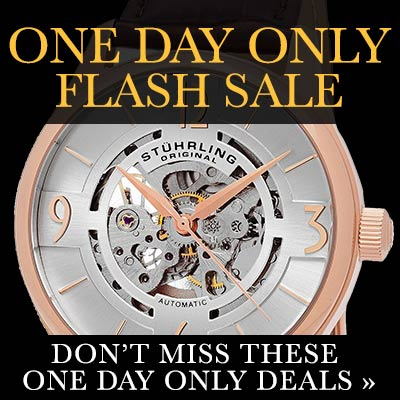 ONE DAY ONLY FLASH SALE - 633-837 Stührling Original Men's 42mm Automatic Skeletonized Leather Strap Watch
