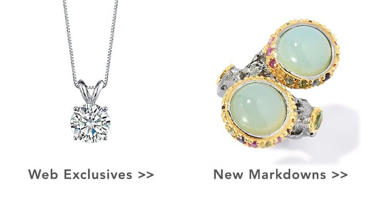 Web Exclusives & New Markdowns at Evine – Forever Brilliant Moissanite 14K Gold Round Cut Pendant w/ 18in Chain - 139-729, Victoria Wieck Collection Green Chalcedony & Multi Gemstone Bypass Ring - 168-804