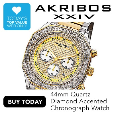 WEB TODAY'S TOP VALUE | AKRIBOS XXIV at Evine - Akribos XXIV Men's 44mm Quartz Diamond Accented Chronograph Stainless Steel Bracelet Watch - 650-843