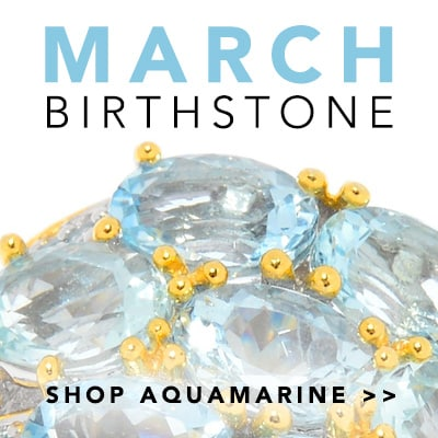 March Birthstone at Evine - Gems en Vogue 4.93ctw Aquamarine & Swiss Blue Topaz 3-Row Band Ring - 162-993