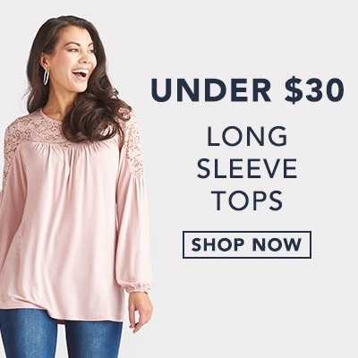 Long Sleeve Tops Under $30 at Evine - 735-440 Kate & Mallory® Stretch Knit & Lace Long Sleeve Peasant Top