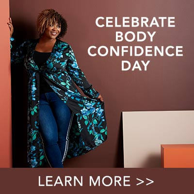 Celebrate Body Confidence Day at Evine - 738-230 mōd x Woven Satin Long Sleeve Button Front Duster, 738-472 mōd x Denim 5-Pocket Athleisure Striped Raw Edge Hem Jeans