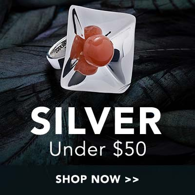 Silver under $50 at Evine - 175-654 Dominique Dinouart Designs Sterling Silver 10mm Gemstone Bead Square Dish Ring