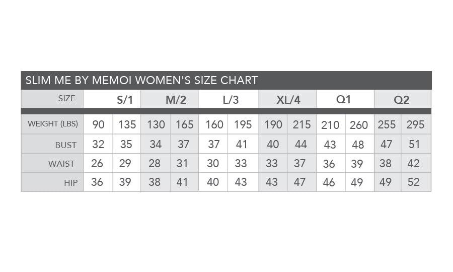 5504be7a92 SlimMe By MeMoi Women s Size Chart