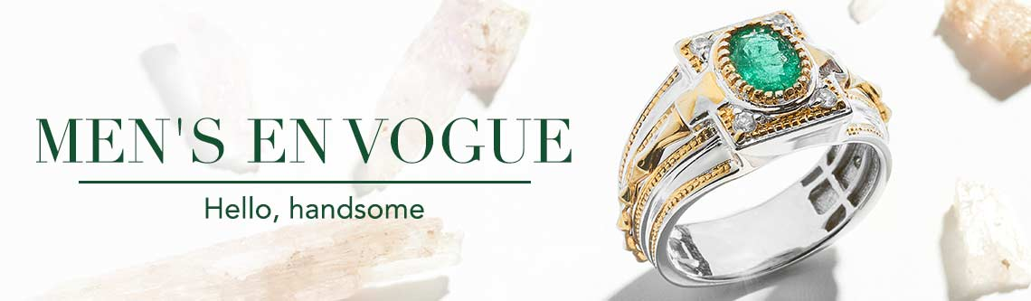 MEN'S EN VOGUE  Hello, handsome at shophq - 157-299 Men's en Vogue 1.40ctw Emerald & White Topaz Band Ring