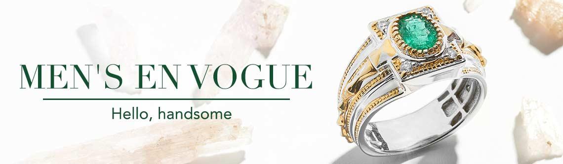 MEN'S EN VOGUE  Hello, handsome at Evine - 157-299 Men's en Vogue 1.40ctw Emerald & White Topaz Band Ring