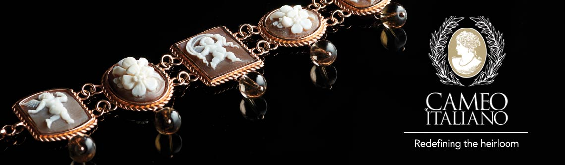 Cameo Italiano at ShopHQ - 173-033 Cameo Italiano Raffaello 7.25 or 8 Carved Shell Cameo & Gem Station Bracelet