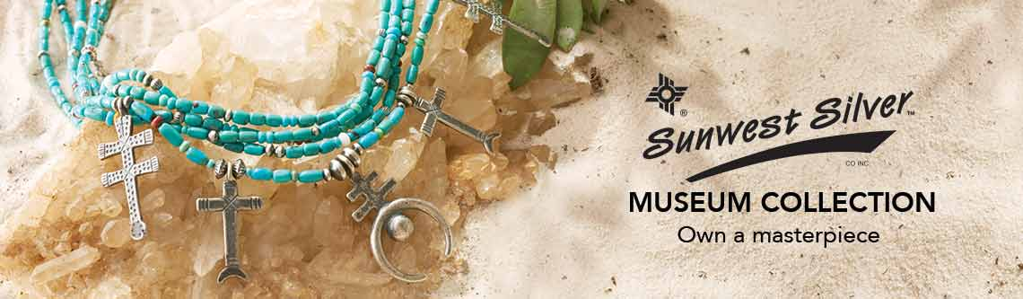 SUNWEST SILVER MUSEUM COLLECTION Own a masterpiece at shophq -  167-674 Sunwest Silver Museum 24 Gemstone 5-Strand Double Cross & Naja Necklace