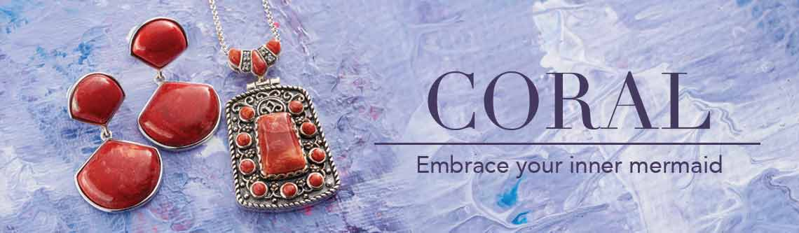 CORAL  Embrace your inner mermaid at Evine -  159-324 Gem Insider® Sterling Silver 1.5 20 x 18mm Gemstone Fan Drop Earrings  161-666 Gem Insider® Sterling Silver Multi Cut Sponge Coral Pendant w 18 Rolo Chain