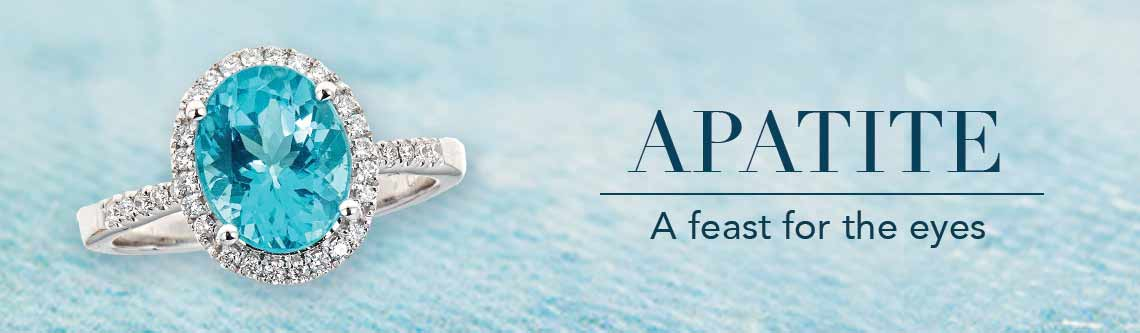 APATITE  A feast for the eyes  171-690 Fierra™ 14K White Gold Apatite & Diamond Halo Ring