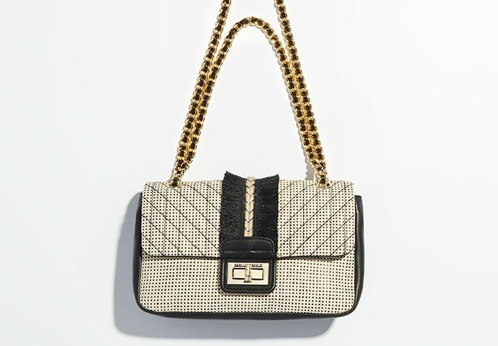 Karl Lagerfeld Paris at ShopHQ - 741-868 Karl Lagerfeld Paris Agyness Flap-over Chain Detailed Shoulder Bag