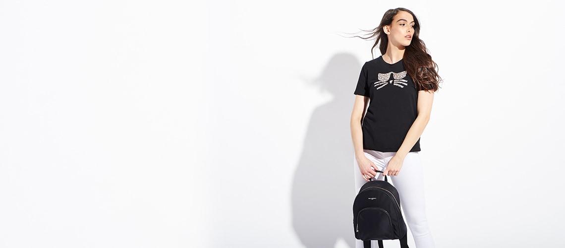 Karl Lagerfeld Paris at Evine - 741-867 Karl Lagerfeld Paris Cara Nylon Zip Top Backpack