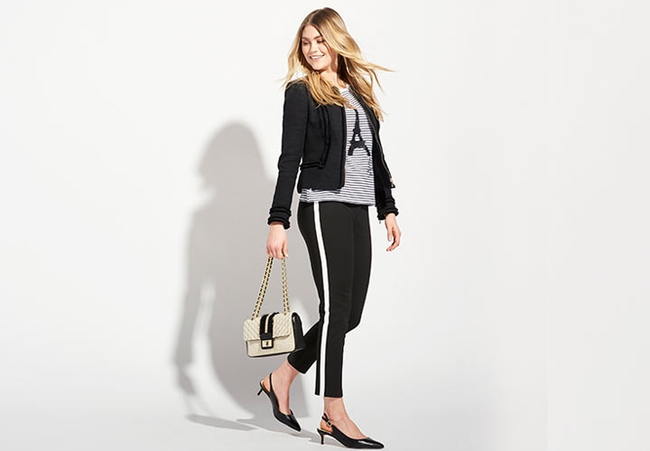 Karl Lagerfeld Paris at ShopHQ - 742-649 Karl Lagerfeld Woven 3-Pocket Zipper & Snap Detailed Ankle-Length Pants, 742-641 Karl Lagerfeld Paris Woven Long Sleeve Zip Front Fringe Detailed Jacket, 741-868 Karl Lagerfeld Paris Agyness Flap-over Chain Detailed Shoulder Bag