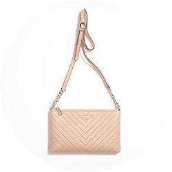Handbags - 740-353 Karl Lagerfeld Paris Charlotte Leather Zip Top Chain Detailed Mini Crossbody Bag