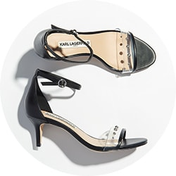 Footwear - 742-789 Karl Lagerfeld Leather Stud Detailed Kitten Heel Sandals
